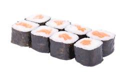 Traditional fresh japanese sushi rolls on white background Stock Photo