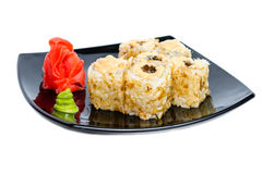 Traditional fresh japanese sushi rolls on a white Royalty Free Stock Images