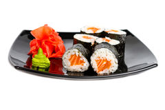 Traditional fresh japanese sushi rolls on a white Royalty Free Stock Photos