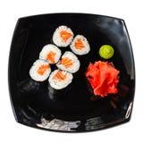 Traditional fresh japanese sushi rolls on a white Stock Photo