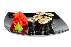 Traditional fresh japanese sushi rolls on a white Stock Photos
