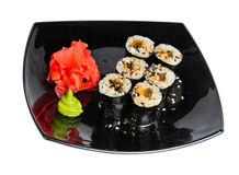Traditional fresh japanese sushi rolls on a white Royalty Free Stock Photography