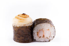 Traditional fresh Japanese sushi rolls on a white background. Roll with shrimp. Royalty Free Stock Images