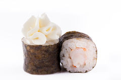 Traditional fresh Japanese sushi rolls on a white background. Roll with shrimp. Stock Photography