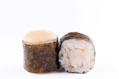 Traditional fresh Japanese sushi rolls on a white background. Roll with shrimp. Royalty Free Stock Image
