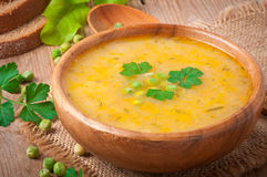 Pea soup in the bowl Stock Photos