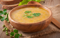 Pea soup in the bowl. Traditional fresh pea soup in the bowl Stock Images