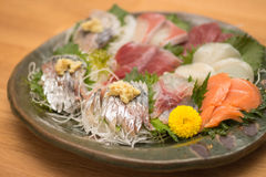 Traditional fresh sashimi raw fish plate in Japan Stock Photo
