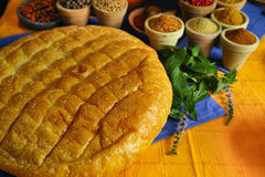 Traditional fresh turkish bread pita and collection of different Royalty Free Stock Images