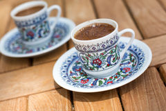 Traditional fresh turkish coffee on wooden table Stock Image