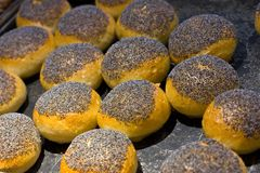 Traditional freshly made buns made with hash royalty free stock images