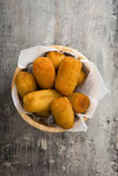 Traditional fried Spanish croquetas croquettes in bowl Royalty Free Stock Images