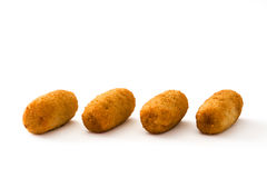 Traditional fried Spanish croquetas croquettes isolated Royalty Free Stock Images