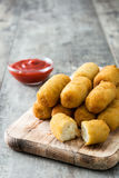 Traditional fried Spanish croquetas croquettes Stock Photo