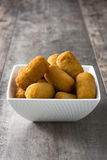 Traditional fried Spanish croquetas croquettes Royalty Free Stock Photo