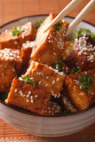 Traditional fried tofu with sesame in a bowl macro. vertical Royalty Free Stock Photo