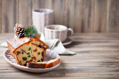 Traditional fruitcake for Christmas Stock Image