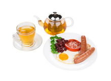 Traditional Full English Breakfast with fried eggs Stock Image