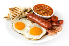 Traditional full English breakfast with fried eggs, sausages, beans, mushrooms, grilled tomatoes and bacon Royalty Free Stock Photography