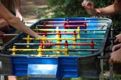 Traditional game of argentinian foosball, table football soccer also called Metegol in latin america. Game for adults and children Royalty Free Stock Photo