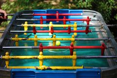 Traditional game of argentinian foosball, table football soccer also called Metegol in latin america. Game for adults and children Stock Photo