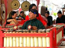 Traditional gamelan players Stock Images