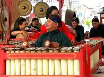 Traditional gamelan players. Gamelan training in the morning Stock Images