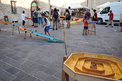 Traditional games in the medieval village of Staffolo in Italy. 19 August 2018, Event: reconstruction of medieval games in the historic center of the village of royalty free stock photos