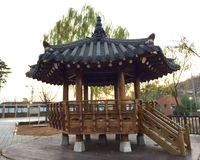 South Korean traditional architecture timber garden Tent stock images