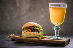 traditional gastro pub food, bbq beef bun Stock Image