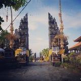 Traditional Balinese gate. Candi bentar, spli gateway. Traditional gate in Java and Balinese architecture. Near Pura Tanah Lot Temple, Bali stock photos