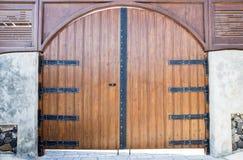 Traditional gate in Santorini Stock Image