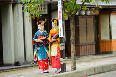 Traditional geishas are walking Stock Photo