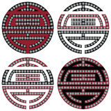 Traditional geometric Oriental Korean symmetrical longevity, long life  zen symbols in black, white and red with diamonds element. In tattoo style Stock Photography