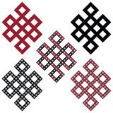 Traditional geometric Oriental Tibetan symmetrical Endless, Eternity Knot zen Auspicious Symbols in black, white and red with diam. Onds element in tattoo style Royalty Free Stock Image