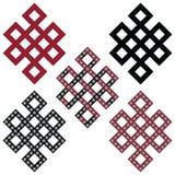 Traditional geometric Oriental Tibetan symmetrical Endless, Eternity Knot zen Auspicious Symbols in black, white and red with diam Royalty Free Stock Image