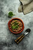 Traditional georgian dish lobio. Traditional georgian red beans dish lobio with pomegranate on rustic table with copy space royalty free stock image