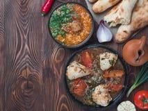 Traditional Georgian dishes, Georgian cuisinecopy space stock photos