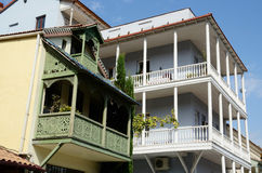 Traditional georgian houses with open balconies,Tbilisi Royalty Free Stock Image