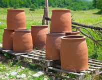 Traditional georgian jugs for wine Stock Photography