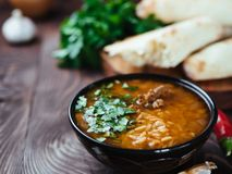 Traditional Georgian soup Kharcho, copy space royalty free stock photo