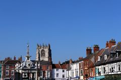 Saturday Market, Beverley, England:October 10th 2018; historic sky-line of a traditional English market-town royalty free stock photo