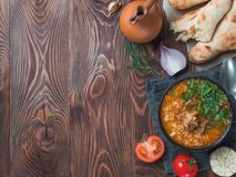 Traditional Georgian soup Kharcho, copy space stock image