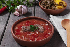 Traditional Georgian soup Kharcho with meat and rice in ceramic ware Stock Photography