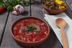 Traditional Georgian soup Kharcho with meat and rice in ceramic ware Stock Images