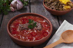 Traditional Georgian soup Kharcho with meat and rice in ceramic ware Royalty Free Stock Photography