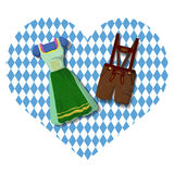 Traditional German Bavarian clothing: Dirdle and Lederhosen. Traditional German Bavarian clothing Dirdle and Lederhosen . October fest. Card royalty free illustration