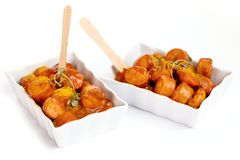 Traditional German currywurst isolated on white background. stock photo