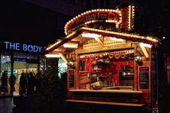 Traditional German decorated pavilion on Christmas market Stock Image