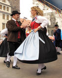 Traditional german folklore. Famous folklore festival on the Klatovy square, Czech republic, Europe. Dance group from Germany in traditional clothes Stock Photography